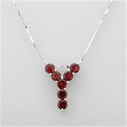 "STERLING SILVER .925 NECKLACE GARNET ""Y""  DESIGN. NEW WITH GIFT BOX"