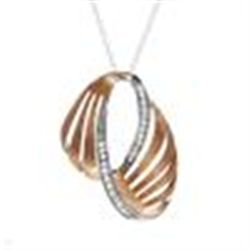 14K/925 TWO TONE NECKLACE & PENDANT. GP STERLING SILVER WITH .70XTW CUBIC ZIRCONIA VERY PRETTY