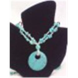 "Faux? Turquoise 34"" Necklace with 2"" Disc Pendant.  Looks real!"