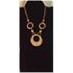 "Goldtone Necklace Hammered Look 24"" Necklace Large Circular Pendant is 2"" Diameter"