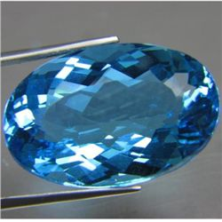 BEAUTIFULLY CUT CLEAN 48.24 CTS NATURAL SWISS BLUE OV