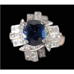 MWF1337 Sapphire and Diamond Ring central oval faceted