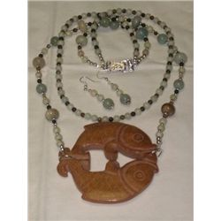 Detailed Hand Carved Fish Pisces Agate & Amazonite 2 St