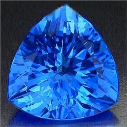 36.00 Carat ORNATE TRILLION NATURAL SUPER SWISS BLUE TO
