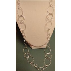 Attractive Macys Sterling Silver Textured Necklace MWF1