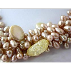 Elegant Five Row 18~ 14mm Rice Pearl and Coin Pearl nat