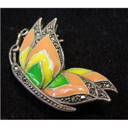 Vintage Sterling Silver Marcasite and Enamel Butterfly