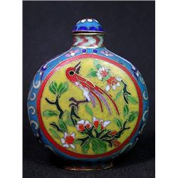 Flower & Bird Pattern Cloisonne Snuff Bottle