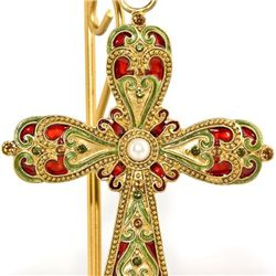 Lovely Cloisonne Table Cross with Inlaid Crystals