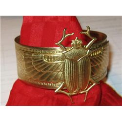 Vintage Art Nouveau Brass Womens Cuff / Bangle Egyptian