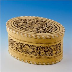 Magnificently hand carved Birch Wooden Jewelry Box