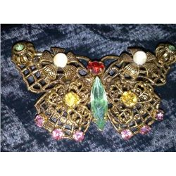 VINTAGE MULTICOLOR RHINESTONE BUTTERFLY BROOCH / PIN
