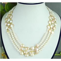 ELEGANT THREE STRANDS WHITE PEARL & COIN PEARL NECKLACE