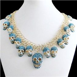 Blue Swarovski Crystal and Gold Tone Skull Pendant Neck