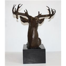 Large Bronze Bust Sculpture Elk