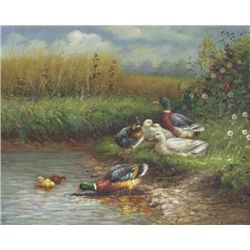 8 X 10 Oil on Board ~Ducks in Pond~