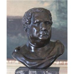 Commanding Caesar Bust Bronze Sculpture