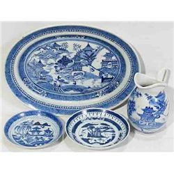 CHINESE CANTON BLUE & WHITE PLATTER SAUCERS & PITCHER