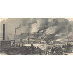 ORIGINAL Antique PRINT scene Burning of the Navy Yard