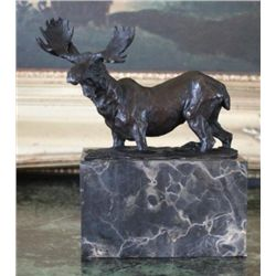 Fine Moose Bronze Sculpture After L. Carvin
