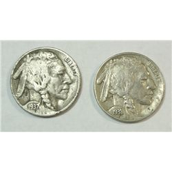 1937D 3 leg Buffalo nickel 1/2 horn fine