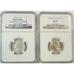 1939D rev of 1940 Jefferson nickel NGC65