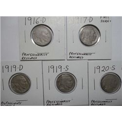 1916D-17D-19D-19S-20S Buffalo nickels  full horns