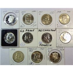 11 different Franklin and Kennedy half $:  1948-51DS-63 all nice BU