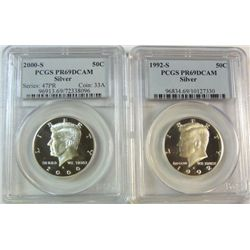 1992S and 2000S Kennedy proof half $  PCGS PR69DCAM