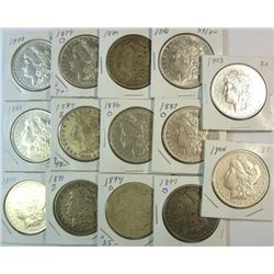 14 different  Morgan $'s  VG to XF:  1878-79O-80-81-83-84S-