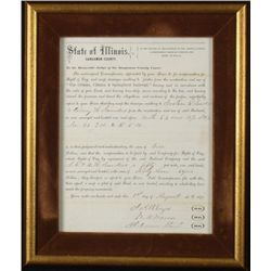 ORIG 1870 SANGAMON COUNTY ILLINOIS RAILROAD DOCUMENT