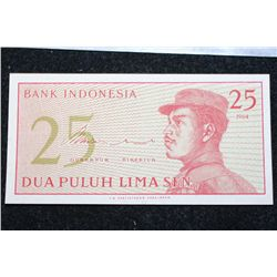 1964 Indonesia 25 Dua Puluh Lima Sen Foreign Bank Note