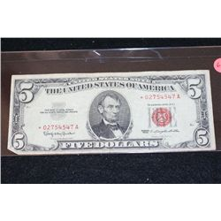 1963 United States Note $5, Red Seal, Star Note