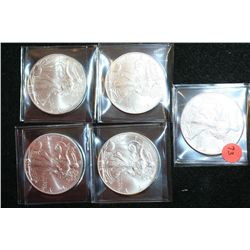 2000, 2001, 2002, 2003 & 2004 Silver Eagle $1, Lot of 5