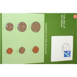 Dominion of New Zealand; Coin Sets of All Nations W/Stamp Dated 1984