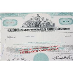 Studebaker-Packard Corp. Stock Certificate Dated 1963