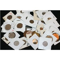 Grab Bag of US Coin, Foreign Coin, Token, Wooden Nickel, Etc., Various Dates & Conditions, Lot of 35
