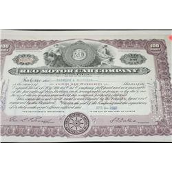 Reo Motor Car Co. Stock Certificate Dated 1937
