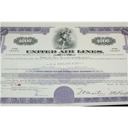 United Air Lines Inc. Stock Certificate Dated 1971