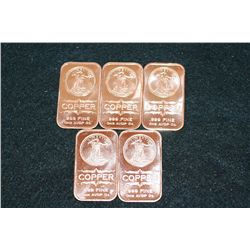 2012 Copper Ingot, .999 Fine 1 Oz., Lot of 5
