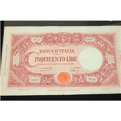 1943 Italy Cinquecento (500) Lire Foreign Bank Note