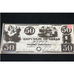 184? Republic of Texas $50 Bank Note (Copy) From Frontier Times Museum