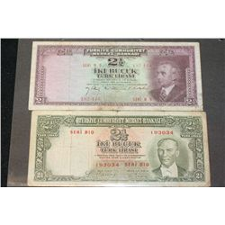 1930 Turkey 2 1/2 Turkish Lira Foreign Bank Note, Lot of 2