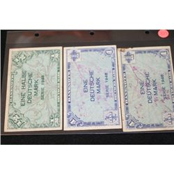 1948 German Half Deutsche Mark & German Eine Deutsche Mark (2), Lot of 3