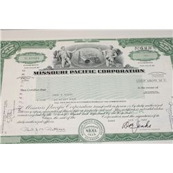 Missouri Pacific Corp. Stock Certificate Dated 1982