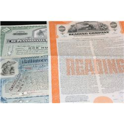 Reading Co. Refunding Mortgage Bond, The Baltimore & Ohio Railroad Co. Stock Certificate Dated 1899