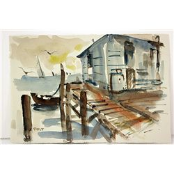 After G. Post  Original Watercolor on Paper - Harbor Morning