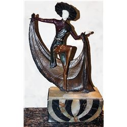 Mexican Hat Dancer - Bronze and Ivory Sculpture by C. Mirval