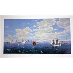 Norman Gautreau Hand Signed and Numbered Lithograph - Tall Ships Visit Boston Bicentennial