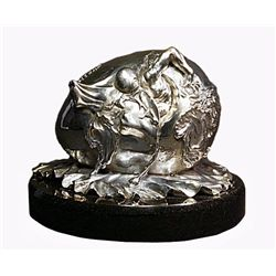 Dali Limited Edition Real Silver  Sculpture - Geopolitical Child Watches The Birth Of The New Human